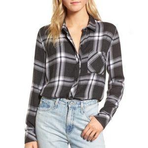 BOGO! Rails Hunter Flannel Coal White Plaid Shirt